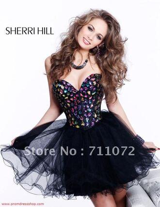 dress prom dress cute dress alternative short dress cute kawaii sweet sparkly dress short prom dress puffy dress black black dress