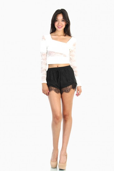LoveMelrose.com From Harry & Molly | Lace Contrast Crop Top - White