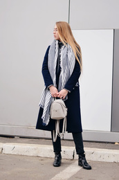 lisa f.k.,music of the wind,blogger,coat,scarf,bag,shoes,jeans,blue coat,winter outfits,backpack,ankle boots,turtleneck sweater