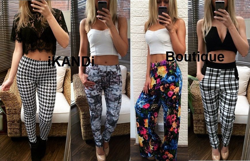 Floral Dogtooth Monochrome Stretchy Skinny Leggings Harem Palazzo Pants Trousers