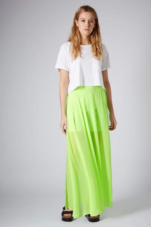 skirt neon green neon green skirt spilit skirt maxi skirt kcloth