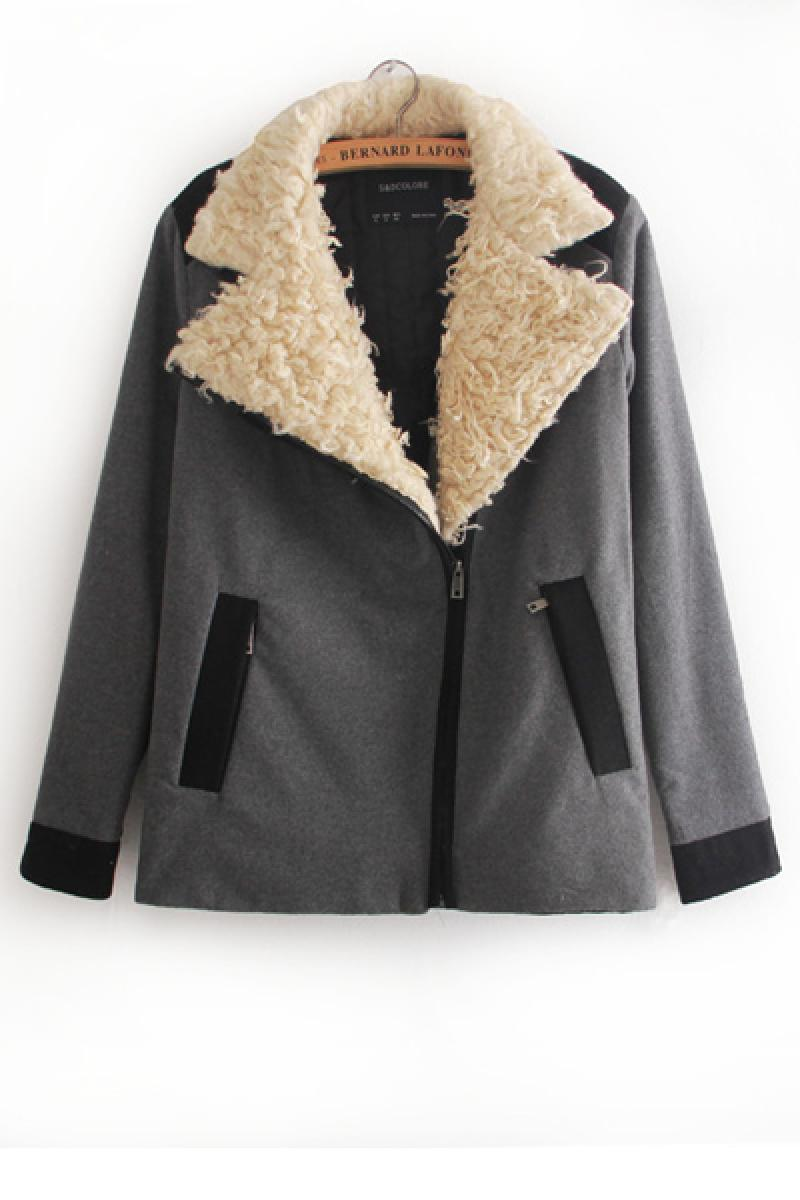 Autumn & Winter New Section Lambswool Collar Zipper Long Section Overcoat,Cheap in Wendybox.com