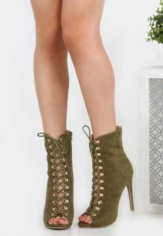 shoes girl girly girly wishlist heels high heels olive green lace up lace up heels booties peep toe heels