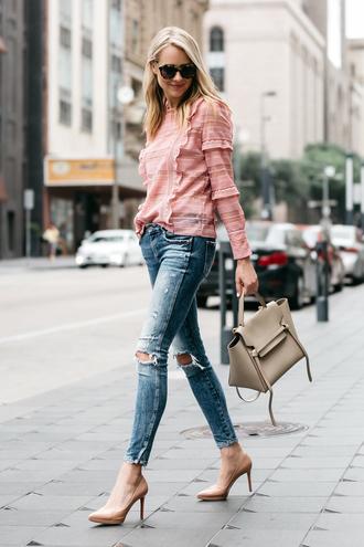 fashionjackson blogger top jeans shoes bag sunglasses jewels pink blouse handbag pumps high heel pumps spring outfits