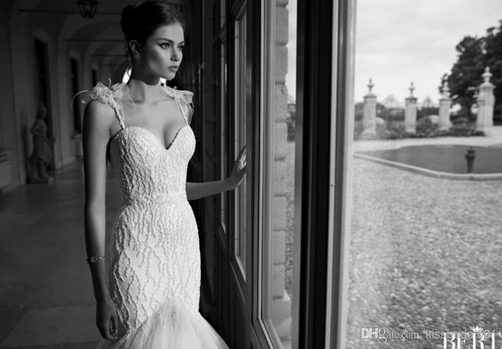 Wholesale 2014 Wedding Dresses - Buy 2014 Unique Design White Berta Bridal Gowns Beads Mermaid Spaghetti Strap Sweetheart Neck Zip Back Court Train Tulle Formal Wedding Dresses, $217.97 | DHgate