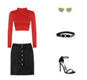 top,suede,black skirt,sunglasses,belt,black belt,sandals,black sandals,red top,turtleneck,crop tops,suede skirt,stuart weitzman