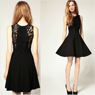 Free shipping The new classic black dress Audrey Hepburn classic stitching lace waist was thin waist dress-in Dresses from Apparel & Accessories on Aliexpress.com
