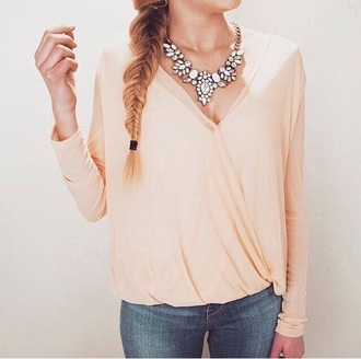 blouse shirt peach top peach blouse lookbook lookbookstore silver necklace necklace jewels jewelry pearl clothes