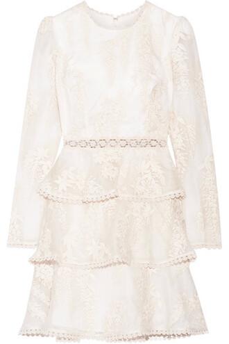 dress mini dress mini embroidered lace white silk
