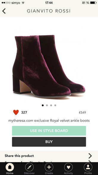 shoes royal velvet gianvito rossi ankle boots burgundy burgundy shoes
