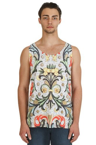 tank top printed tank top print all over print full print floral streetwear streetstyle menswear floral tank top