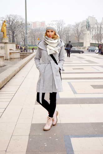 beauty fashion shopping blogger scarf pants grey coat knitted beanie winter outfits coat shoes bag grey beanie