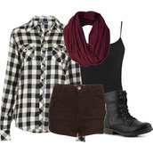 scarf,plaid,combat boots,shoes