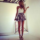 shoes,girl,white,tank top,skirt,girly,white shoes,high heels,chunky heels,flowers,short skirt,summer,dress,blue dress,floral,floral skirt,summer dress,flowers skirt,shirt