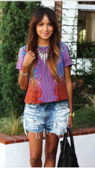 colourful top bright casual festival coachella distressed denim