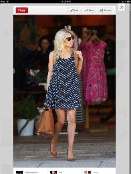 dress navy blue polka dots