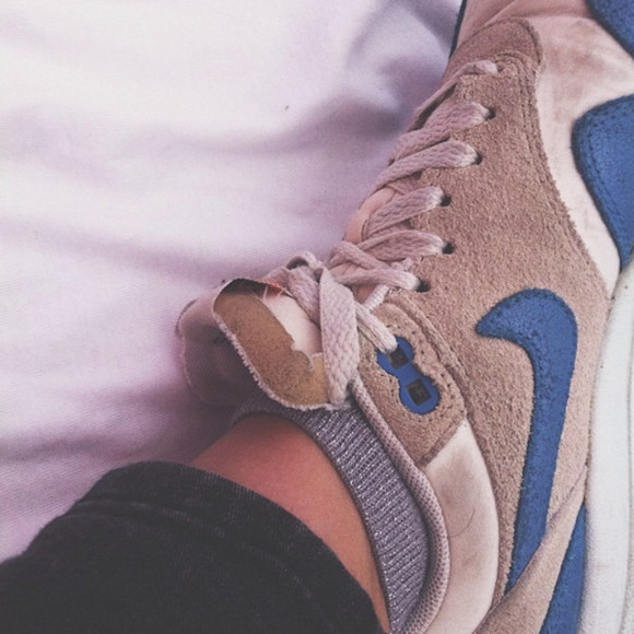 shoes white basket nike blue suede beige