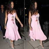 dress,rihanna,baby pink,midi dress,sandals,shoes,prom shoes