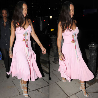 dress rihanna baby pink midi dress sandals shoes prom shoes
