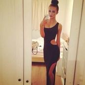 black dress,maxi dress,dress,noir,black,long dress,cut-out,long,sexy dress,party,party dress