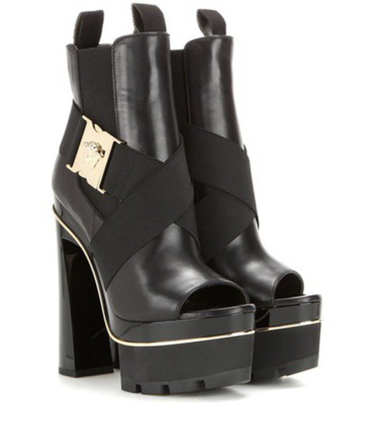 VERSACE leather ankle boots embellished boots ankle boots leather black shoes