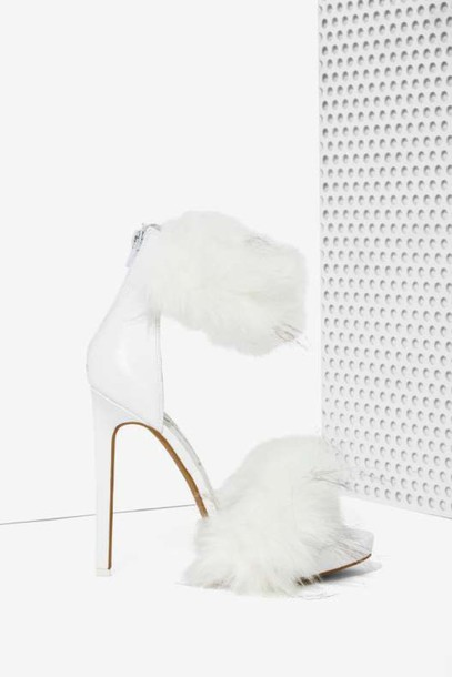 cb91f54eefee shoes fur heels high heel sandals white sandals fluffy heels high heels  classy clubwear stylish style