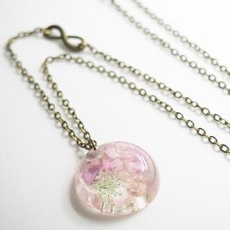 jewels summer summer handcraft flowers floral cute necklace handmade pink hydrangea handmade necklace dreamcatcher necklace