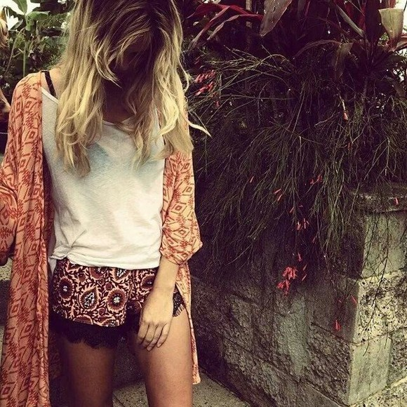 jacket shorts pretty outfit kimono cute white boho bohemian fashion black red hipster hippie indie hot orange sexy