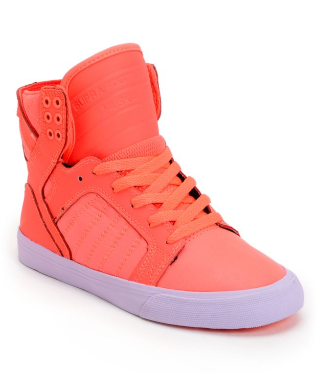 supra womens skytop neon coral leather shoe at