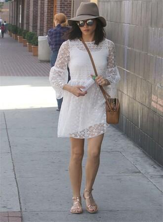 dress lace white jenna dewan sandals flats hat boho sunglasses bag purse