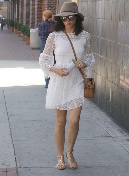 dress white jenna dewan sandals flats hat boho sunglasses bag purse