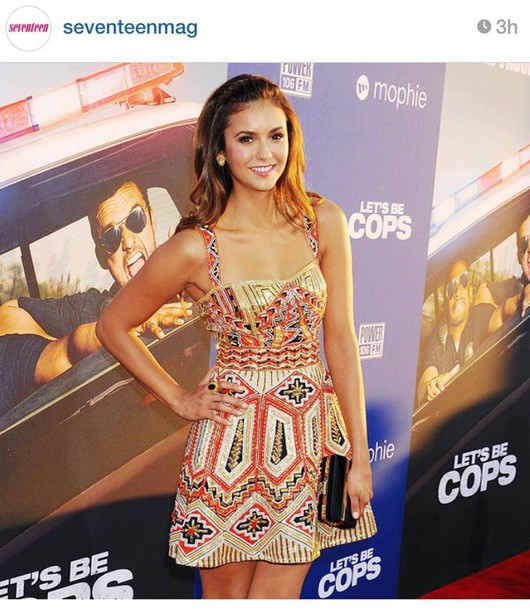 nina dobrev patterned dress