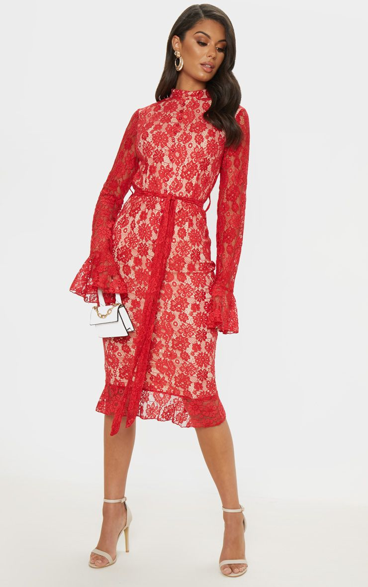 Red Lace Button Detail Frill Hem Midi Dress