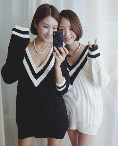 Neck long sleeve contrast striped trim sweater from doublelw on storenvy