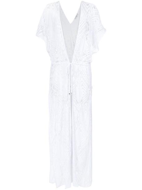 AMIR SLAMA kimono women spandex white crochet top