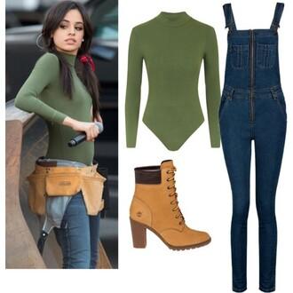 jumpsuit denim green bosysuit boots camila cabello top shoes