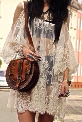 dress lace flowy boho boho dress white lace thin cover up  dress