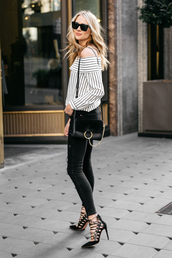 fashionjackson,blogger,top,jeans,shoes,bag,sunglasses,jewels,off the shoulder top,striped top,skinny jeans,high heel pumps,shoulder bag,chloe bag,spring outfits