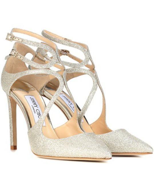 Jimmy Choo glitter 100 pumps silver shoes