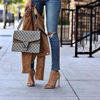 bag gucci gucci bag tumblr dionysus denim jeans blue jeans sandals sandal heels high heel sandals nude sandals minimalist shoes jacket suede jacket brown jacket ripped jeans fall jacket