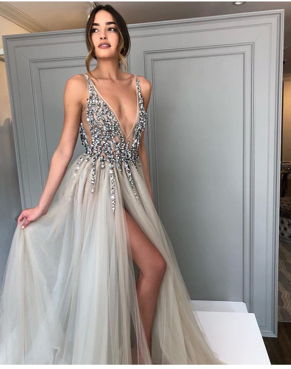 0a50533f50 dress prom dress prom prom gown prom beauty grey sparkle cute dress cute  beautiful slit dress