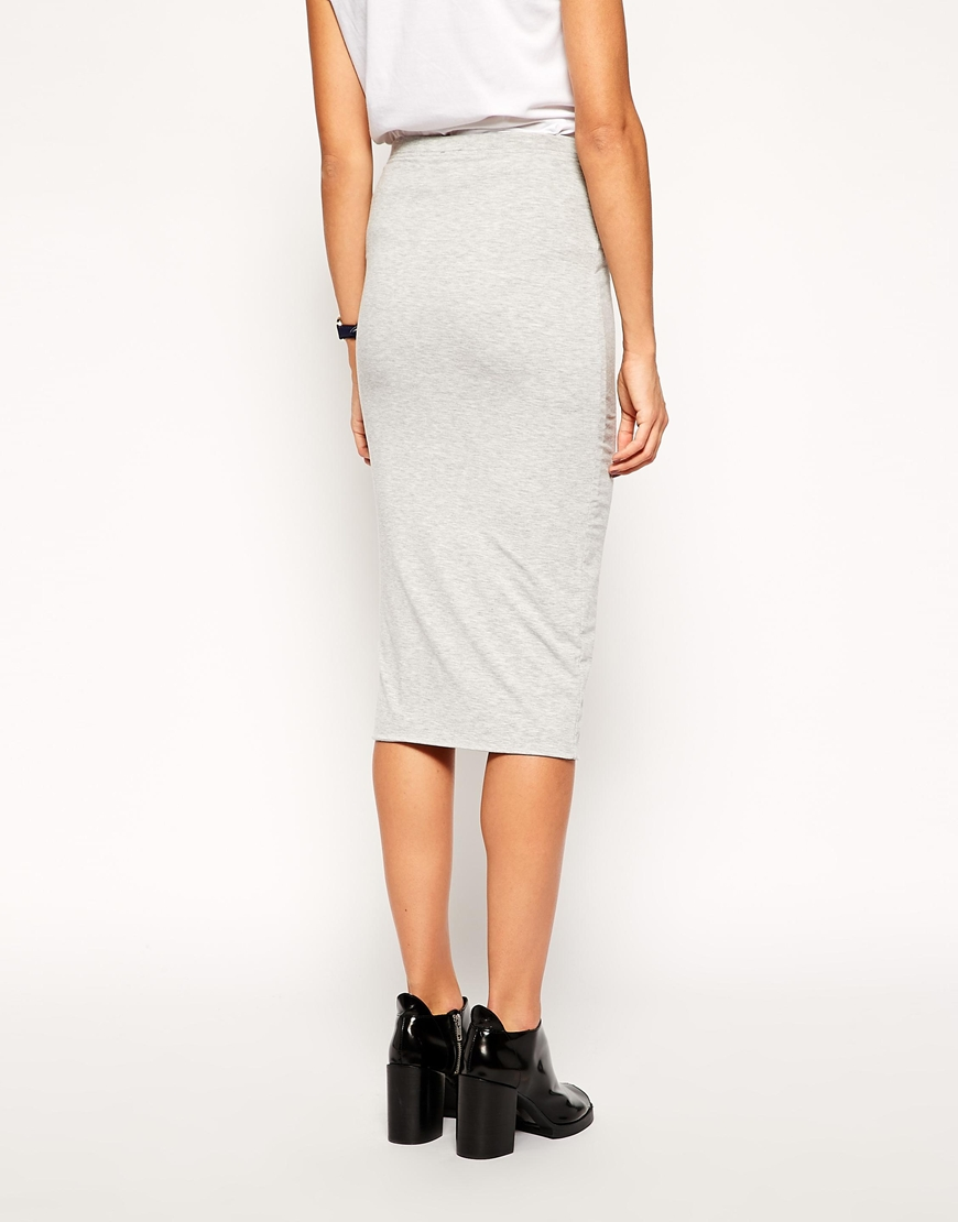 ASOS Pencil Skirt in Double Layered Jersey at asos.com
