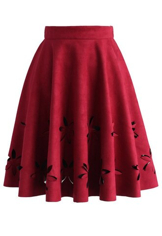 skirt dancing flower cutout suede a-line skirt in wine chicwish a-line cut-out wine
