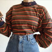shirt,mock neck,stripes,vintage,retro,striped.,70s style,oversized,colorful,long sleeves,sweater,mom jeans,blue,red,aesthetic,rainbow,yellow,green,orange