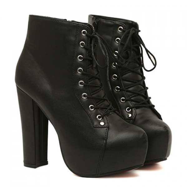 Mature Women's Short Boots With Chunky Heel and Lace-Up Design