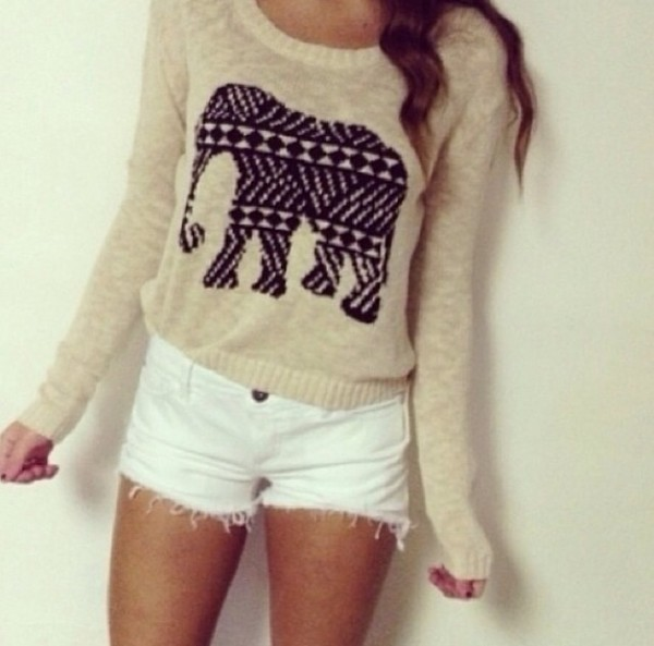 sweater grey elephant tribal pattern pants