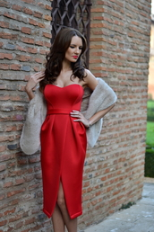 my silk fairytale,blogger,red dress,faux fur,bustier dress,top