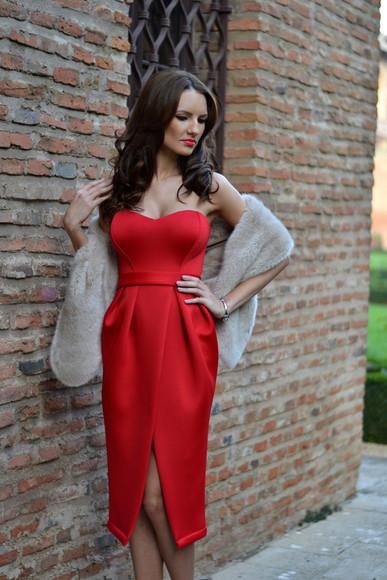 bustier dress blogger red dress my silk fairytale faux fur