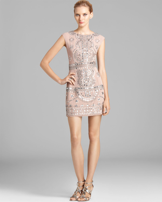 Renzo   Kai Gold Embellished Cap Sleeve Dress - Laura | Bloomingdale's