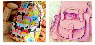 bag pink polka dots backpack cartoon disney